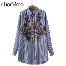 charMma Floral Embroidered Blouse Shirt Women Stripe Tops 2017 Turn Down Collar Long Sleeve Blouse Fashion Blouse Femme Blusas
