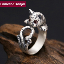 hot deal buy hongclub 2017 new s990 sterling silver ring women jewelry cute cat crystal engagement love ring adjustable gift fine jewelry r10