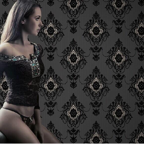 Rouleaux de papier peint damassé noir 3d européen de luxe pour murs papier peint 3d chambre fond TV revêtements muraux 3d