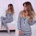 2016 New Women 2 PCS A Set 100% Cotton Sexy V Neck Hoodies Tracksuit Ladies Sweatshirt+Pant  Clothing Female Sport Suit