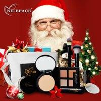NICEFACE 9Pcs Cosmetics Makeup Set Tool Kit Including Powder Concealer Stick Smooth Blush Brush Puff Christmas