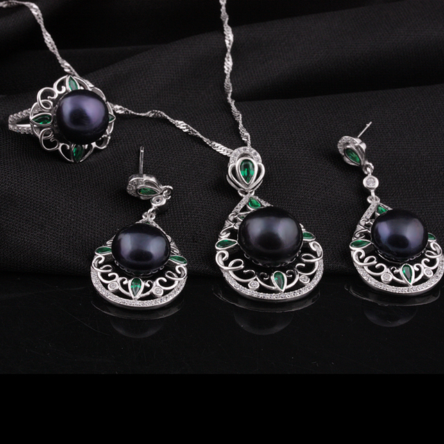 [MeiBaPJ]High-end custom NEW top quality 100% genuine freshwater pearl jewelry sets for women 925 silver metal with Gift box