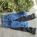 2017 Wholesale spring hot fashion children's cotton tassel girls jeans