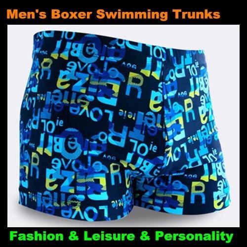 Top Men & Children Letter Pattern Boxer Trunks Swimwear Fashion Board Shorts Boy's Beach Hot Springs,Big Yards