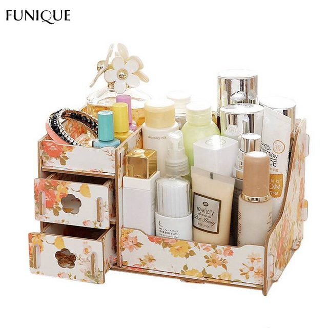 FUNIQUE Wooden Storage Box Jewelry Container Makeup Organizer Case Handmade DIY Assembly Cosmetic Organizer Wood Box For Office