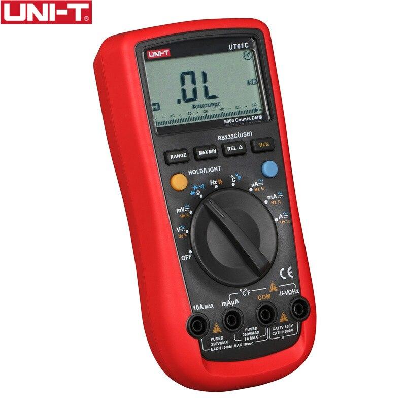 UNI-T UT61C Multimetri Digitali AC 1000 V RS232 PC Collegare Dati Calcolare Diodo Retroilluminazione LCD 0.5 S Veloce Temperatura di Prova