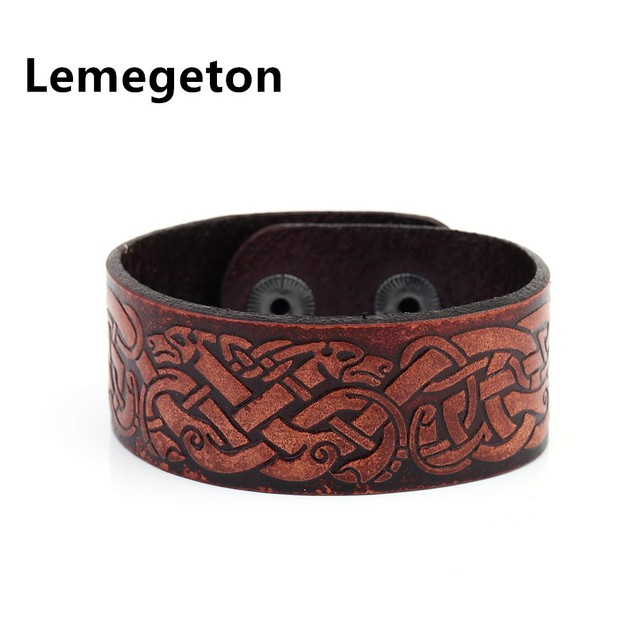 Lemegeton Vintage Chinese Dragon Knot Mens Leather Cuff Wristband Charm Women Bracelets Hidden Clasp Viking Jewelry