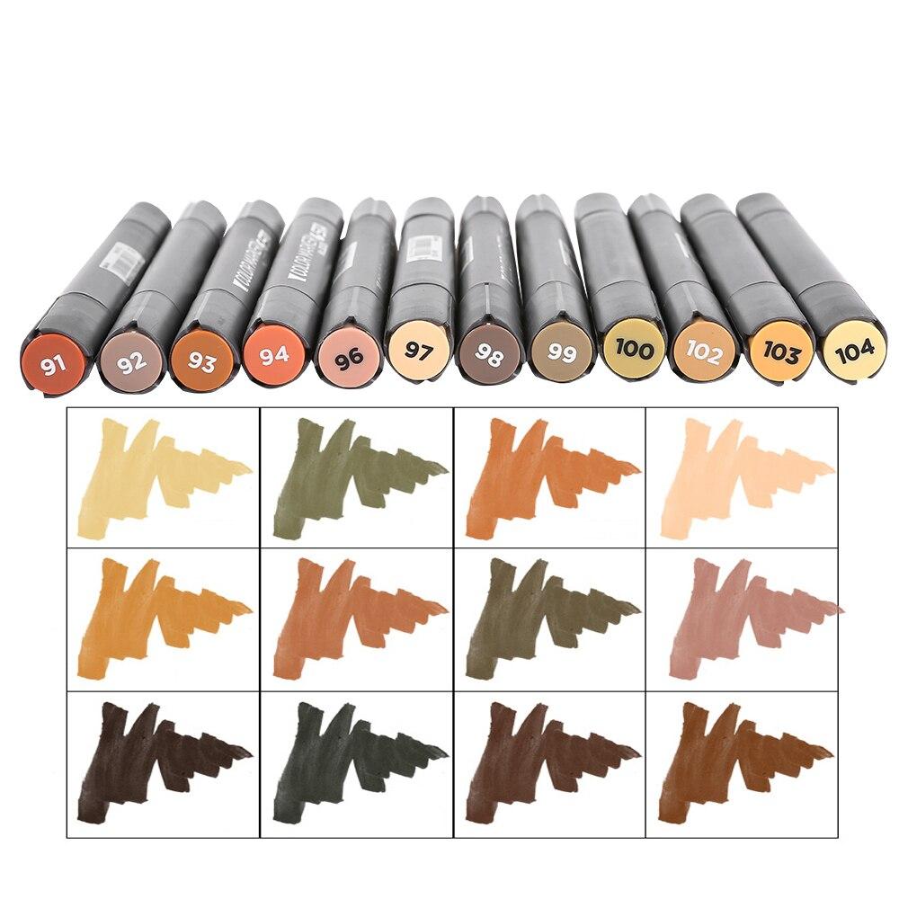 STA 12pcs Wood Colors Art Marker Pen Set For Wooden Furniture Design Anime Characters Skin Color