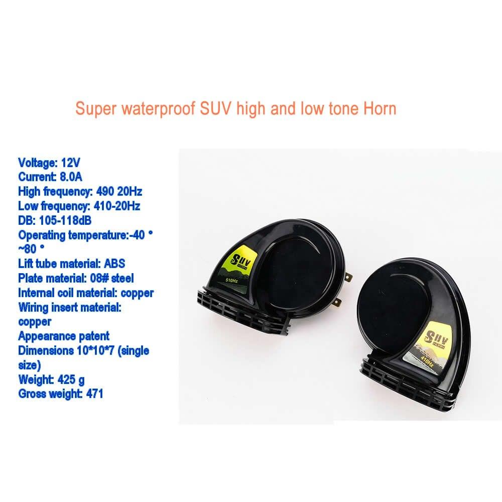 2pcs /pair 1Treble 1 Bass Super Loud Snail Horn Air Siren Speeker 12V Car Truck Vehicle 115DB Alarm Horn Waterproof nice price