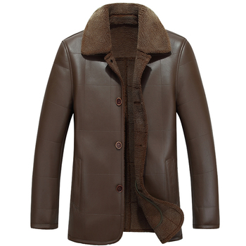 Abrigo de Cuero cálido para invierno para hombre, chaqueta de negocios marca,...