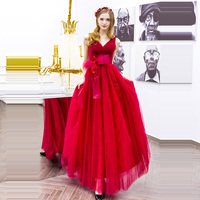 Evening Dresses bow sleeveless Women Party Dresses v neck Robe De Soiree 2019 Long Plus Size Sexy red backless Prom Dresses E592