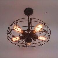 אוהד בציר כפרי תעשייתי E27 מנורת תקרת אור 5 נורות אדיסון ברזל שחור סגנון רטרו עבור לופט בר חדר אוכל