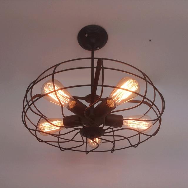 Industrial r stico vendimia ventilador techo l mpara e27 5 - Ventilador techo rustico ...