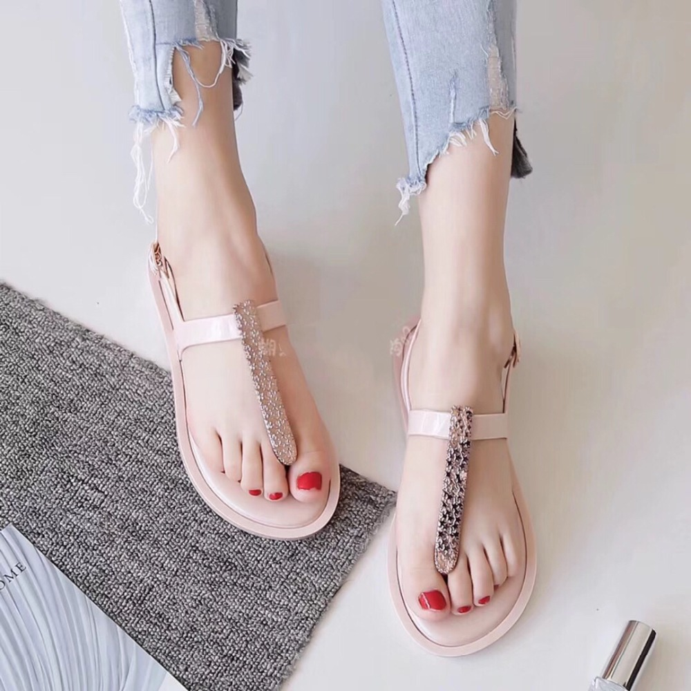 Melissa Rhinestone Fashion Women Sandals 2019 Summer Shoes Elastic Melissa Band Crystal Flat With Flip Flop in Low Heels from Shoes