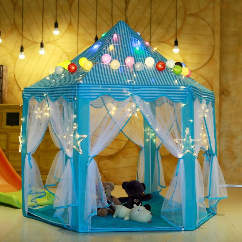 Children Princess Castle Tent Indoor Outdoor Garden Folding Game Tent Camping Picnic Hut Party Shade Mesh Gauze Tent