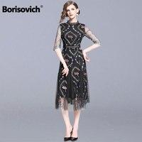 Borisovich Ladies Elegant Party Dresses New 2019 Fashion England Style Luxury Embroidery Women Summer Causal Long Dress N1180