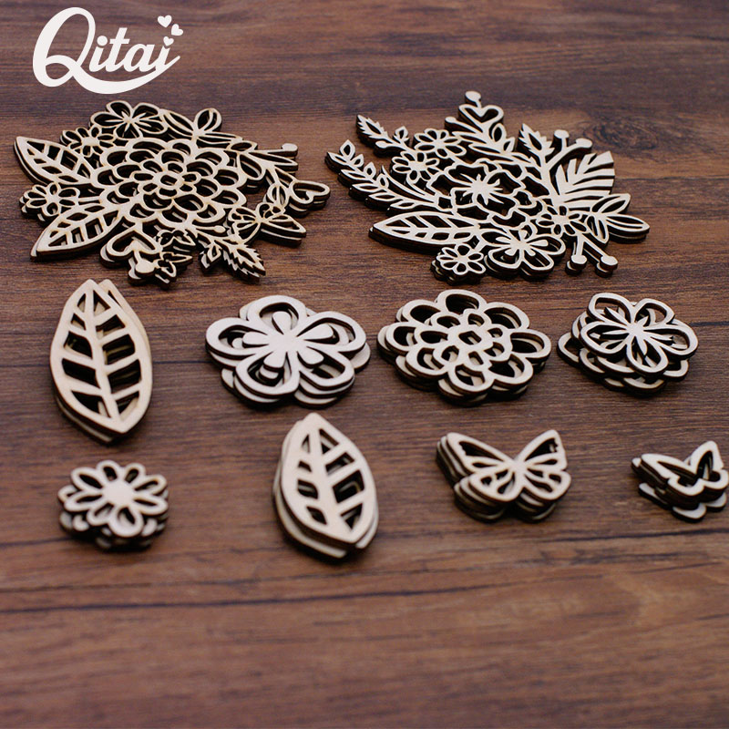 QITAI 33Pcs/lot Flowers And Leaves And Butterflies Wood Crafts DIY Scrapbooking Embellishments Home Decoration Accessories WF307