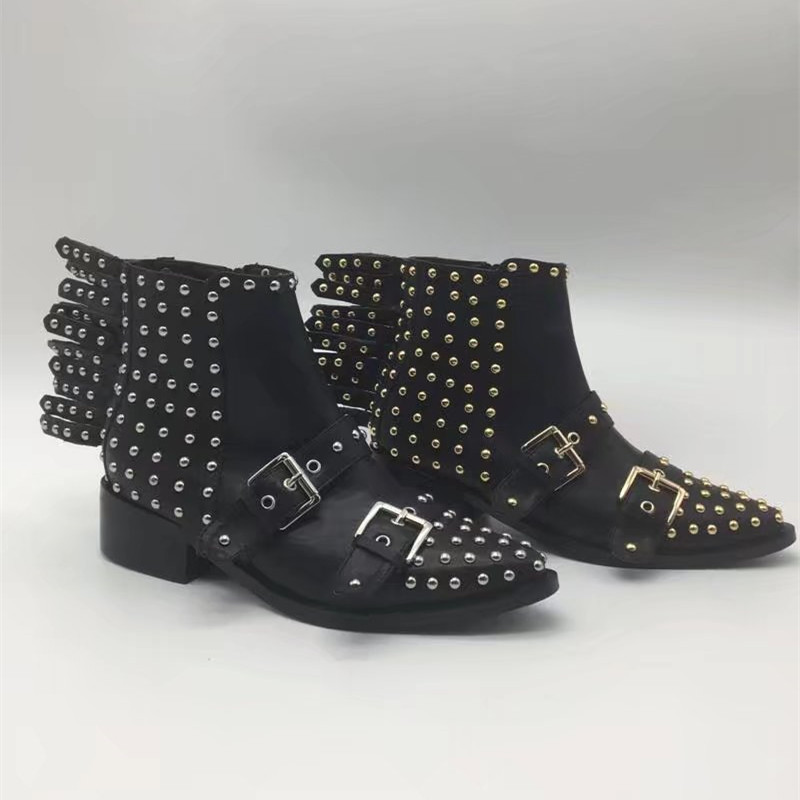 Metal Decoration Rivet Embellished Punk Style Zip Up Women Black Solid Boots Runway Fashion Ankle High Women Leather Bootie