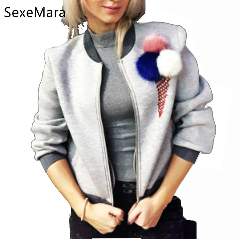 Creative Woman Ice cream pattern plush Faux Rabbit fur Ball zipper cardigan jackets casual font b