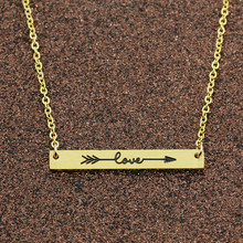 GORGEOUS TALE BFF Bridal Gift Stainless Steel Women Necklace Gold Choker One Direction Love Arrow Bar Necklaces & Pendants Men