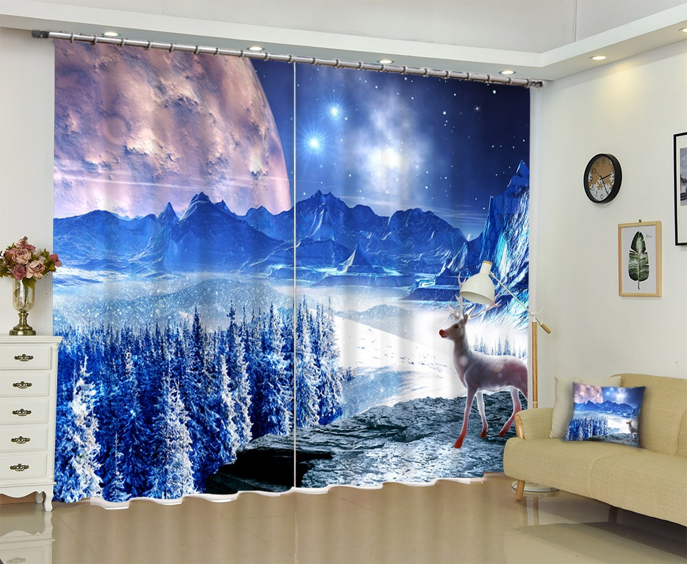 Creative Snow Landscape View Photo 3D Curtain Modern Curtains for Beding Room High-precision Shade Customize Size