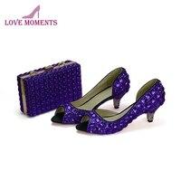 Фиолетовые Свадебные Юбилей вечерние туфли лодочки с сцепления летом открытый носок обувь под свадебное платье для невесты 5 см Обувь на ка