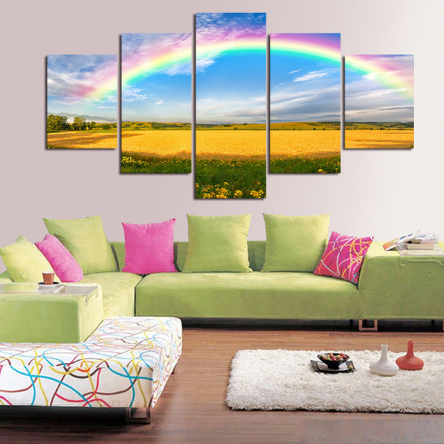 2016 Begrenzte Echt Die Farben Regenbogen 5 Stucke Hd Best Bewertete  Leinwanddruck Malerei Fur Wohnzimmer Wandkunst