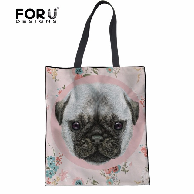 1b2112310a FORUDESIGNS Cute Pug Puppy Yorkie Pattern Recycled Mom Shopping Bag Women  Casual Handbags Linen Tote Bags for Lady Cloth Bags
