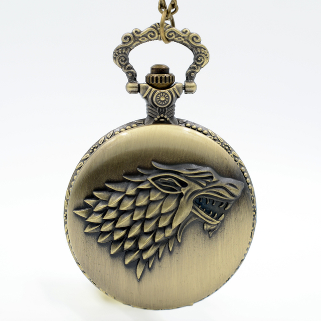 Silver Gray Winter is coming Winterfell:House Starks Family emblem Wolf Quartz Pocket Watch Analog Pendant Mens Womens Watches