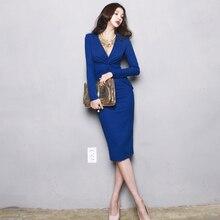 2018 Women Sexy Elegant  Work Office Lady Business Party Bodycon Vestido V-Neck Solid Dress