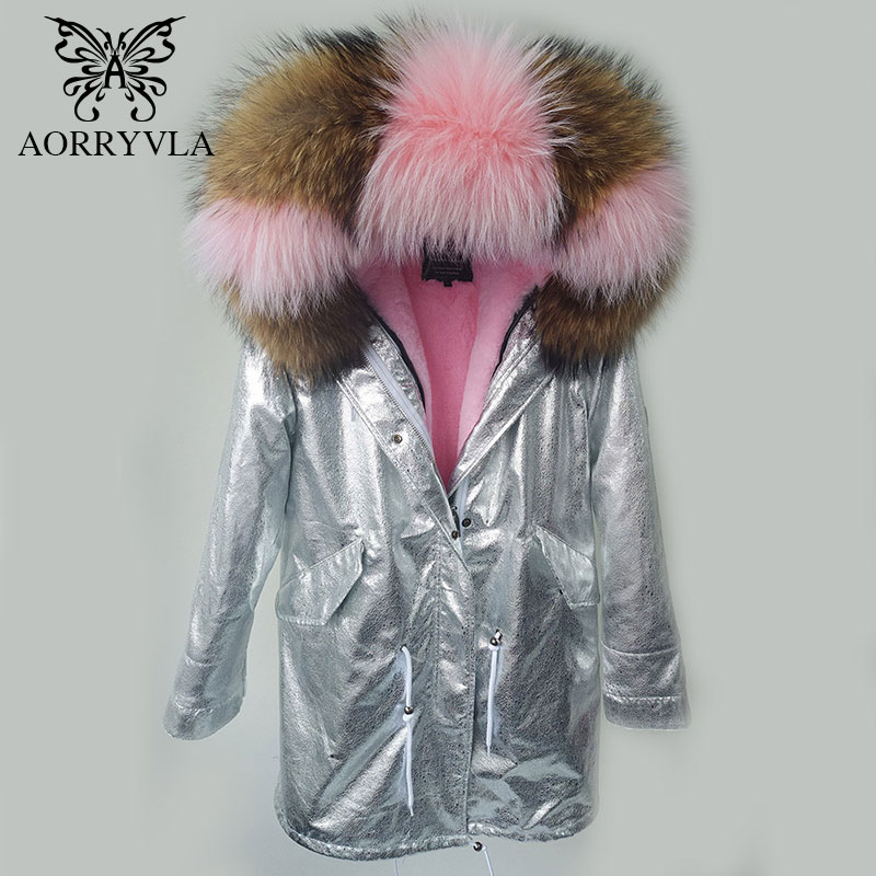 AORRYVLA 2017 New Winter Jacket Women   Parka   Silver Pu Real Raccoon Fur Collar Hooded Coat Long Length Casual Winter Outer Wear