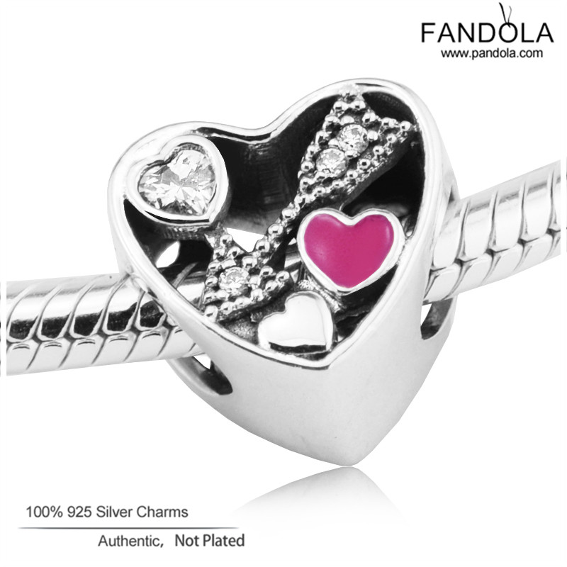 Struck by Love Heart Charms Fits Pandora Snake Bracelets Silver 925 Original Beads DIY Jewelry Making for Women Berloque