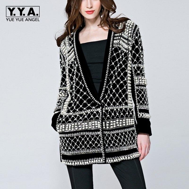 2019 última pista nueva moda alta calidad mujeres perlas hechas a mano novedad chaqueta de manga larga de lujo negro abrigos