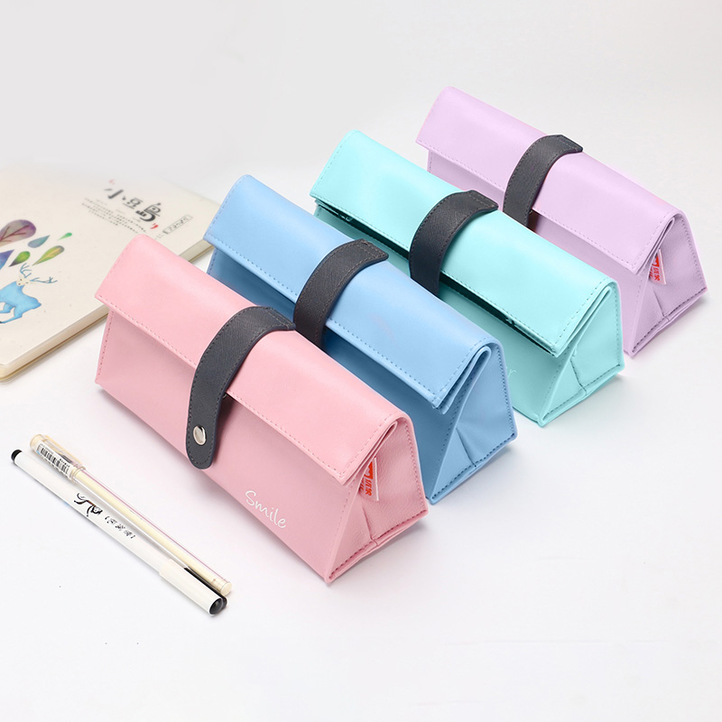 Korean Style Brief Creative Large Capacity Pencil Bags School Stationery Multi-function Three Clasp Adjustable Capacity Pen Case