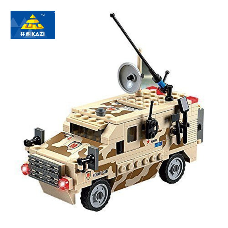 KAZI 219Pcs Military Scout Car Building Blocks Action Figure Playmobil Bricks Educational Toys For Children