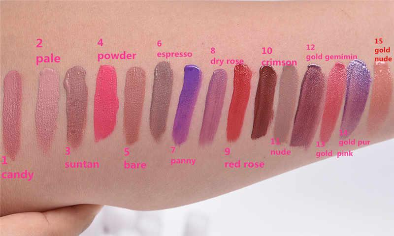 מט גלוס לאורך זמן גלוס עמיד למים ליפ גלוס איפור נוזל שפתון 15 צבעים חום עירום שוקולד צבע שפתיים Batom