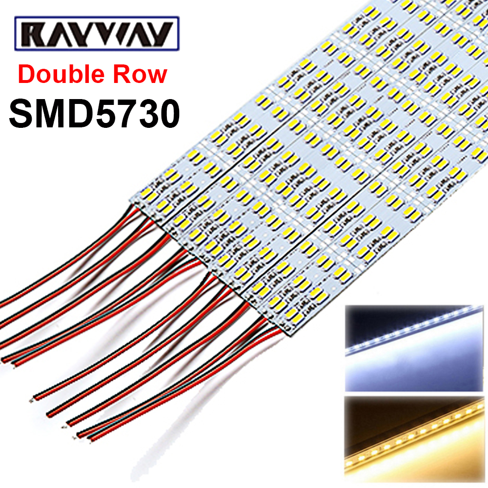 цена RAYWAY 10pcs 50CM Double Row 5630/5730 SMD 72 LED Strip Bar Light DC12V 14W Aluminium Alloy Rigid Bar Lamp Fr Cabinet White/Warm