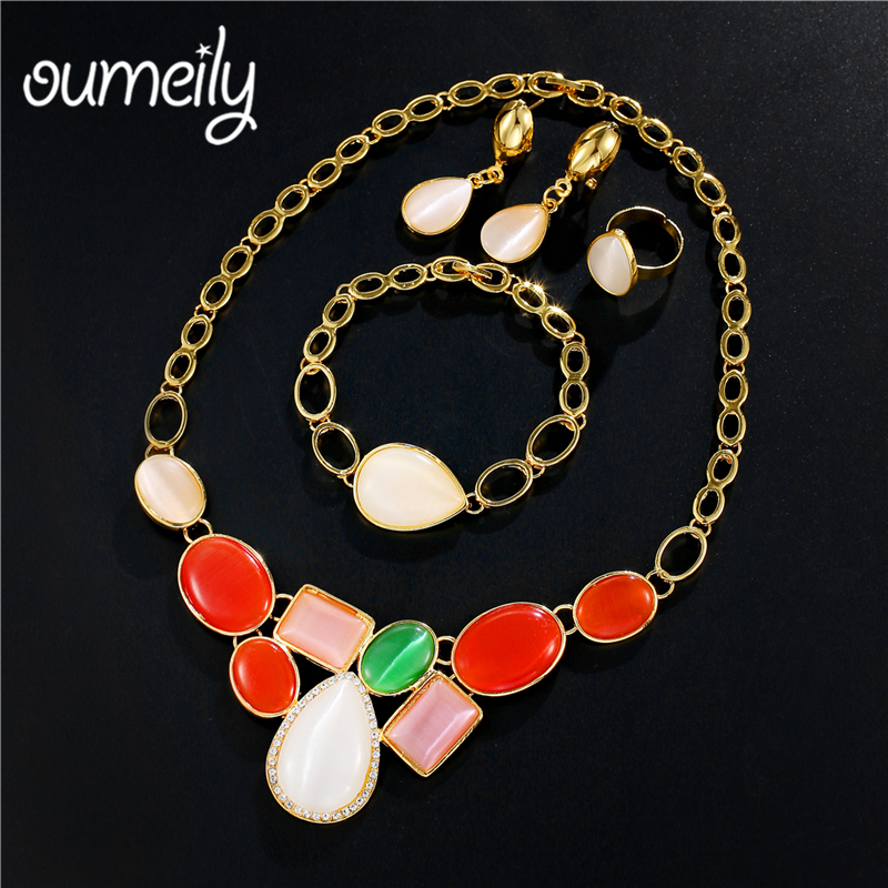 OUMEILY Dubai Jewelry Sets bridal Gift Red Green Stone Women African Bead Jewelry Set 2018 Nigerian Wedding Costume Jewelery