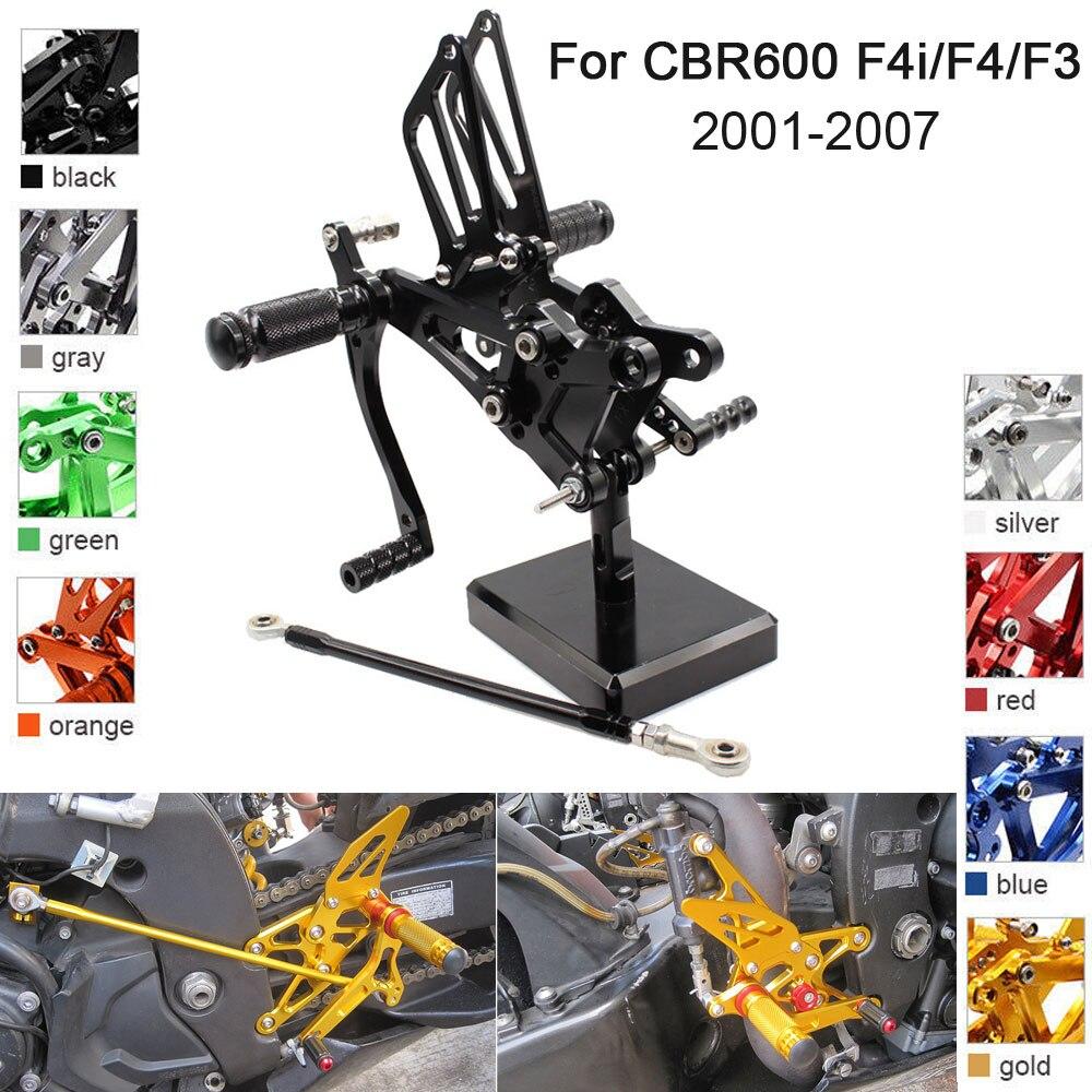 CNC Aluminum Adjustable Rearsets Foot Pegs For Honda CBR600 F2 F3 F4 F4i 2001 2002 2003 2004 2005 2006 2007