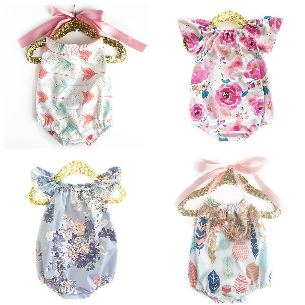 Summer Girls Baby Sling Naked Back   Romper   Newborn New Design Cotton Flower print   Romper   Boy Clothing rainbow Triangle Jumpsuits
