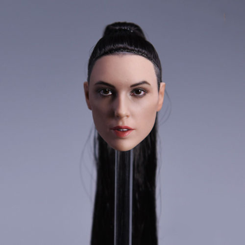 1 6 Scale Wonder Woman Gal Gadot Head Model with Straight Long Hair for 12 inches