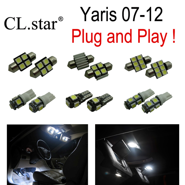 6pc X Canbus No Error Interior LED Dome Light Kit Package For Toyota Yaris  (2007 2012)