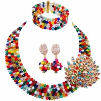 The Latest Coral Gold Champagne Women Stylish Crystal Bead Nigerian Wedding African Beads Jewelry Set ABD179
