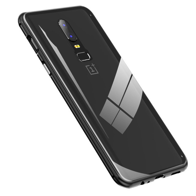 Built-in Magnet Case for OnePlus 6 Clear Tempered Glass Magnetic Adsorption Case for One+ 1+ 6 Metal Ultra Cover bumper 3