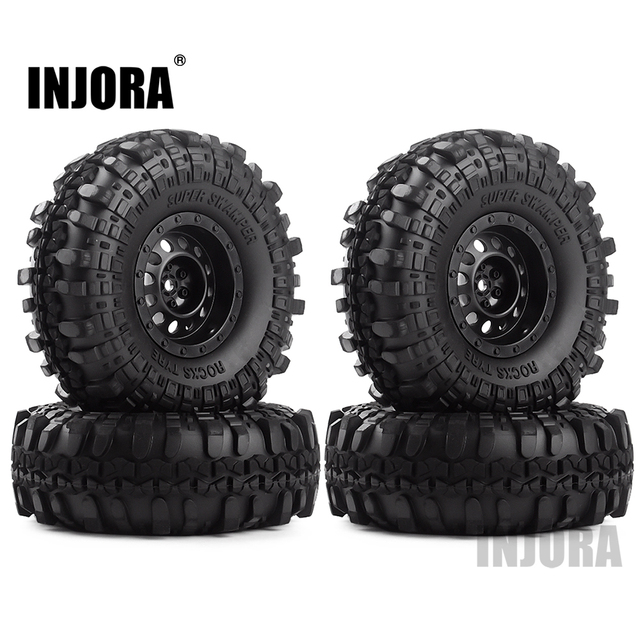 "INJORA Rubber 1.9"" Wheel Tires&Plastic 1.9inch Wheel Rims 4Pcs/Set for 1/10 RC Crawler Axial SCX10 90046 Tamiya CC01 D90 D110 1"