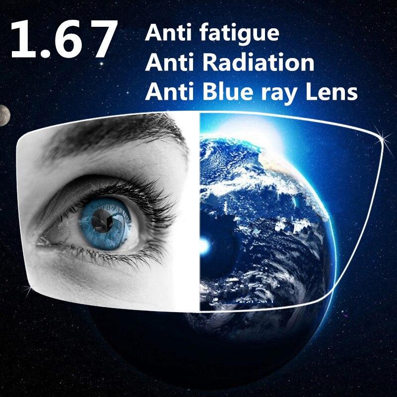 1,67 Index Uv 400 Index Anti Blue Ray Anti-strahlung Harz-objektive Grüne Beschichtung Anti Müdigkeit Objektiv Für Augen 100% Hochwertige Materialien
