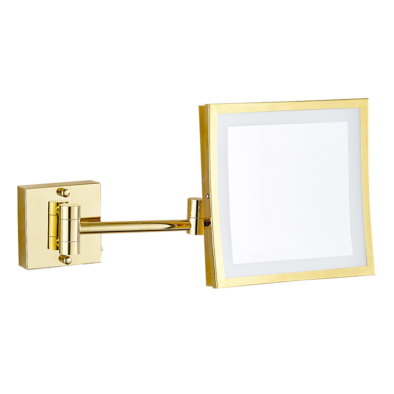 Gurun Led 8 Inch Dual Arm Extend Bathroom Mirror With Led Light 2 Face 3 X Magnifying Bathroom Mirrors Brass Shaving Mirror