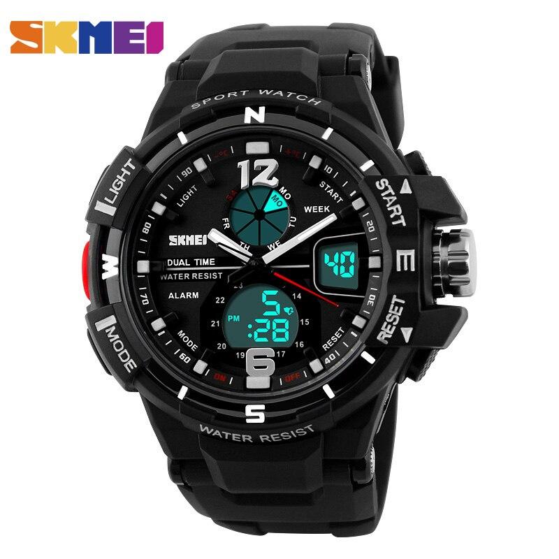 SKMEI Hombres Pantalla LED Digital Relojes de pulsera de Reloj de la Exhibición Dual de Alarma Cronógrafo Correa de PU Resina Cristal Relojes 1148