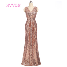 HVVLF 2017 Cheap Bridesmaid Dresses Under 50 A-line Deep V-neck Floor Length Champagne Sequins Long Wedding Party Dresses