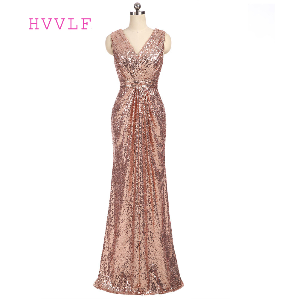 HVVLF 2019 Cheap   Bridesmaid     Dresses   Under 50 A-line Deep V-neck Floor Length Champagne Sequins Long Wedding Party   Dresses